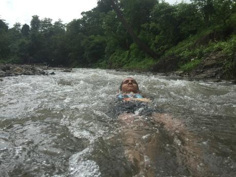 enjoying bathing at kokam
